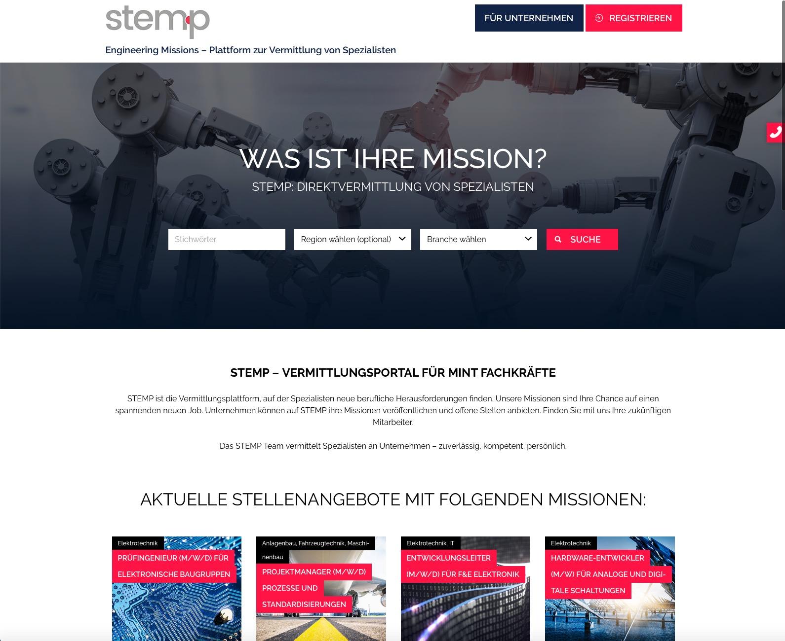 Homepage von stem-p